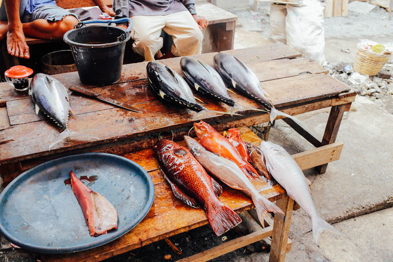 ASIA Banda Island Fish Fishes Food Food And Drink Freshness Healthy Eating High Angle View INDONESIA Maluku  Market Stall Meat Preparing Food Red Snapper Retail  Seafood Still Life Table Tuna Variation