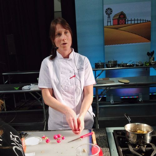 Cutting radishes and cooking fingerlings in rice wine vinegar. At the demo stage with Chef Katie Weinner. Cooking Food Cookingdemo