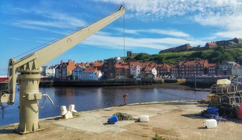 Whitby Harbour Outdoors Built Structure Architecture Cloud - Sky No People Malephotographerofthemonth Creative Light And Shadow The World Through My Eyes Full Frame Vacations Architecture Whitby North Yorkshire Whitby Yorkshire Coast Fujifilm Landscape Travel Destinations Harbor Cranes