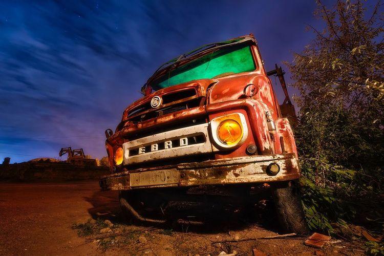 Abandonares truck Sky Outdoors Cloud - Sky No People Illuminated Night Stars Truck Abandoned Old EyeEmNewHere Colour Your Horizn