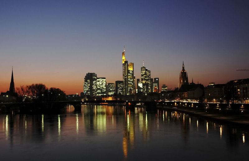 Main River and Frankfurt financial district panorama at twilight No People Skyscraper Cityscape Office Building Exterior Sky Built Structure Architecture City Metropolis Tall - High Tower Water River Skyline Reflection Light Illuminated Twilight Dusk Twilight Sky Waterfront Bridge - Man Made Structure