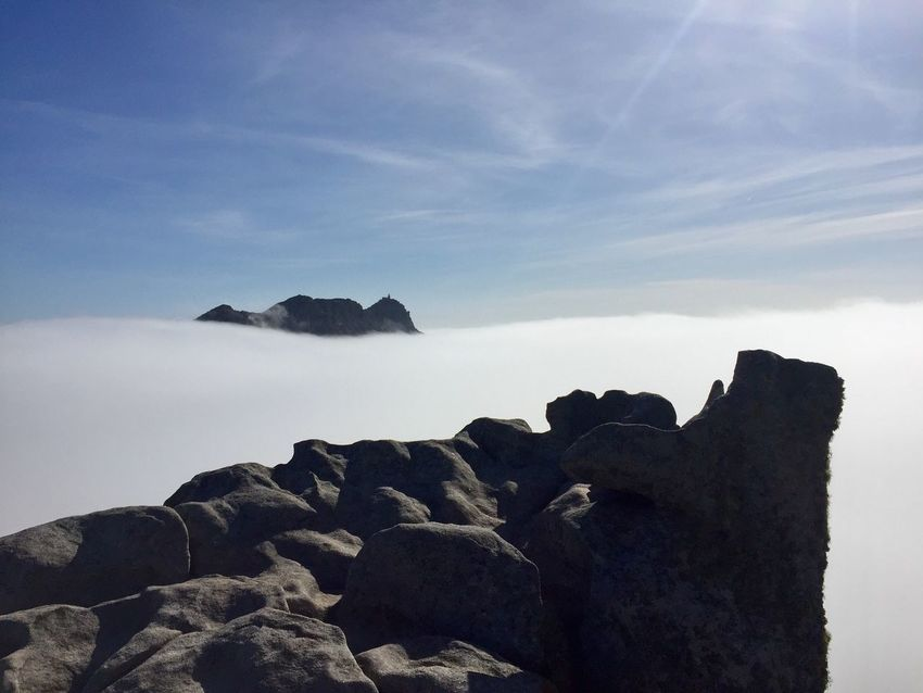 Rock Sky Rock - Object Solid Beauty In Nature Tranquility Cloud - Sky Sea Nature Scenics - Nature Tranquil Scene Rock Formation No People Water Day Idyllic Land Non-urban Scene Outdoors Eroded Foggy Weather Island