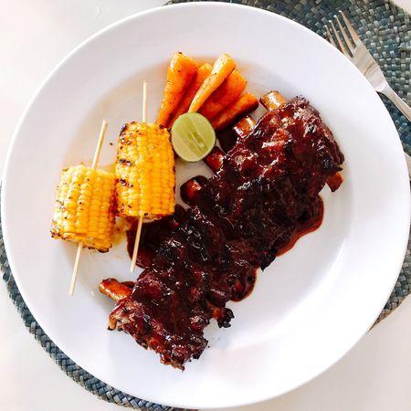 Pork Ribs Porkribs Foodporn BBQ Meat! Meat! Meat! Corn Baby Carrots Pork Gastronomy