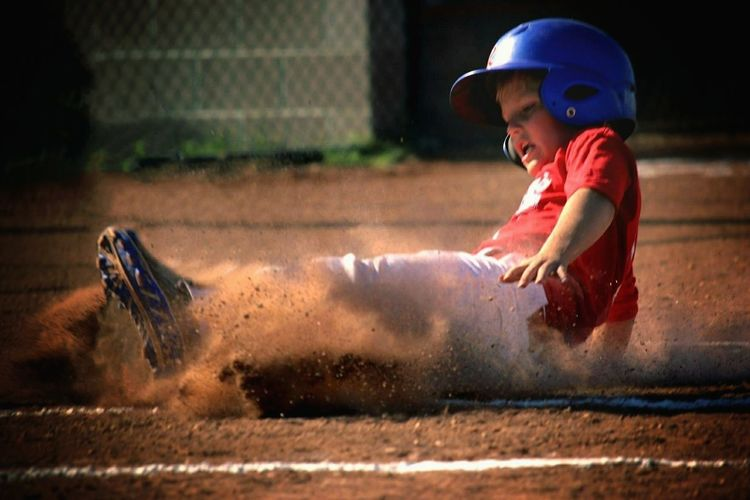 Boy on baseball field