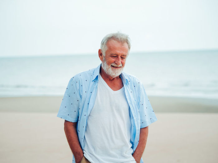 60 60s Adult Beach Beautiful Cane Caucasian Citizen Closeup Elderly Father Hair Handsome Love Male Man Mature Memories Men Old One Outdoors People person Portrait Retired Retirement Sea Senior Seniors Sky Smiling Travel Vacation Water White Wise