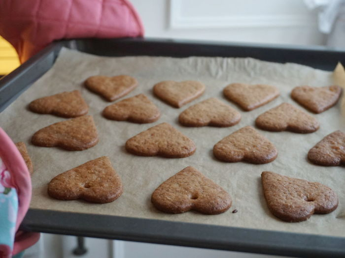 Close-Up Of Heart Shape Cookies On Baking Sheet