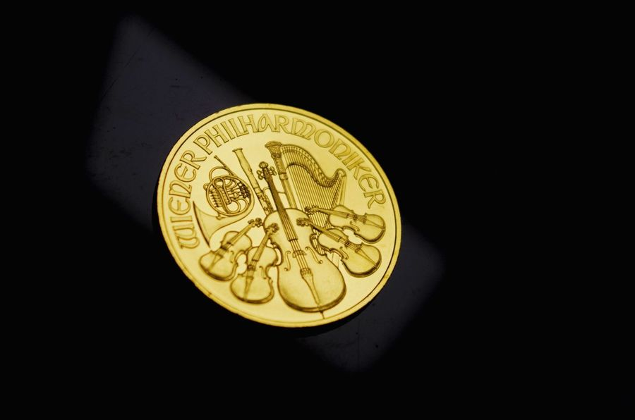 Gold Gold Colored Coin Currency Gold Black Background Close-up Austria Orchestra Money