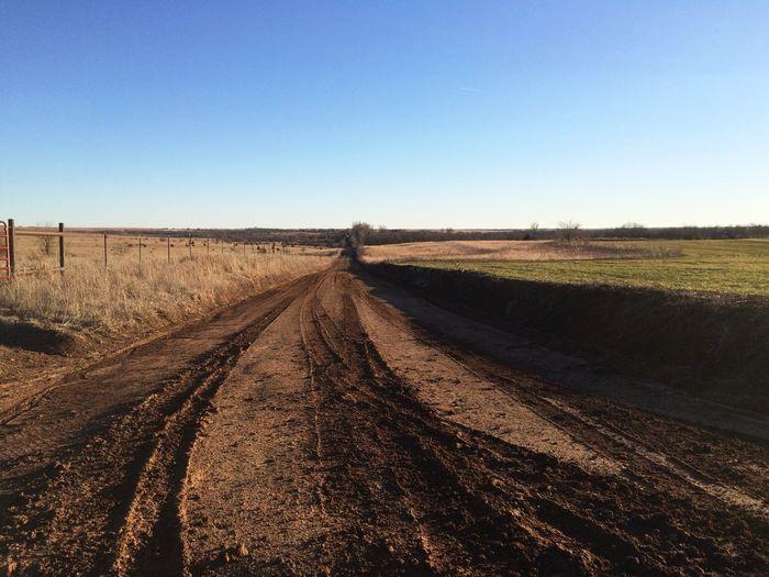 Landscape Dirt Road Clear Sky Kansas Prarie Nature First Eyeem Photo