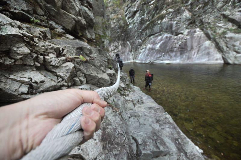 Trekking Korea Adventure Trekking Rock - Object Adventure Rock Climbing Mountain Climbing Extreme Sports Mountain Climbing Cliff Rope Strength Nature Outdoors Human Hand Holding