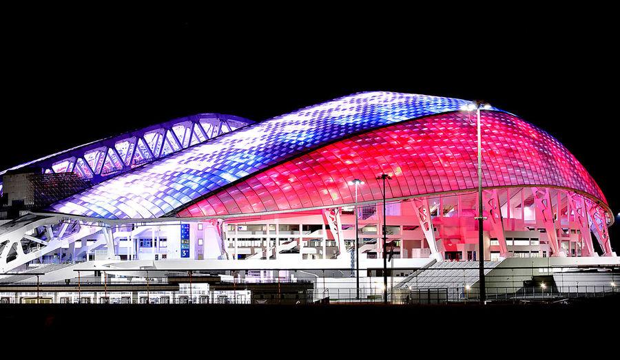 Fisht Olimpic stadium Stadium Olimpic FISHT Mundial Sochi Russia Mundial 2018 Communication Flag Illuminated National Flag Building The Traveler - 2018 EyeEm Awards My Best Travel Photo