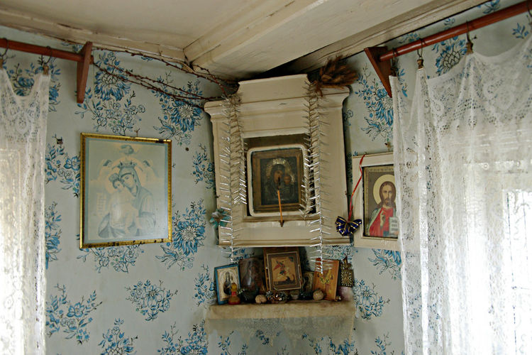 A Village In Ost Karelia, Russia Belief And Faith Built Structure Day Icons In A Village House In Russia Indoors  No People Ortodox Ortodox Religion Religion Simple Beautu Wholy Corner Window