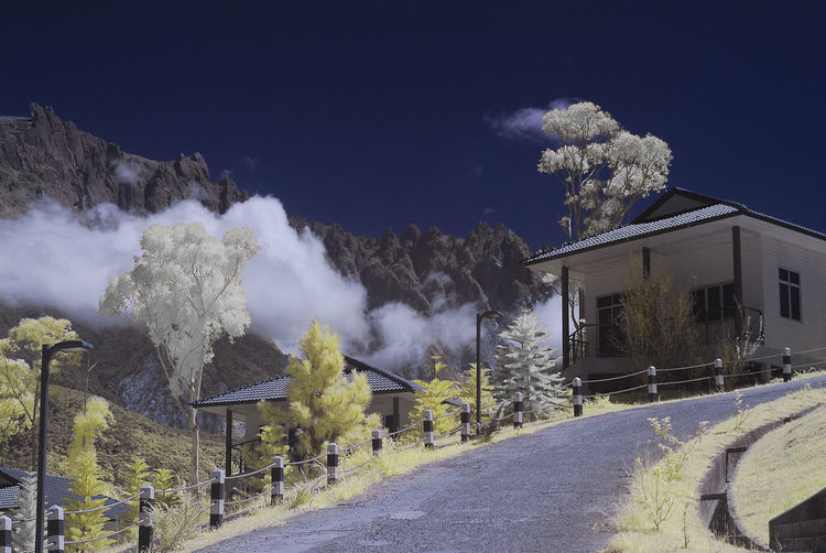 An infrared view of a house on a hill beside a mountain with white and yellow foliage trees. Clear Sky Infrared Low Clouds White Foliage Architecture Beauty In Nature Building Exterior Built Structure Color Infrared Day Hill Infrared Photography Mountain Mountain Range Nature No People Outdoors Resort Road Sky Tree Yellow Foliage Yellow Grass