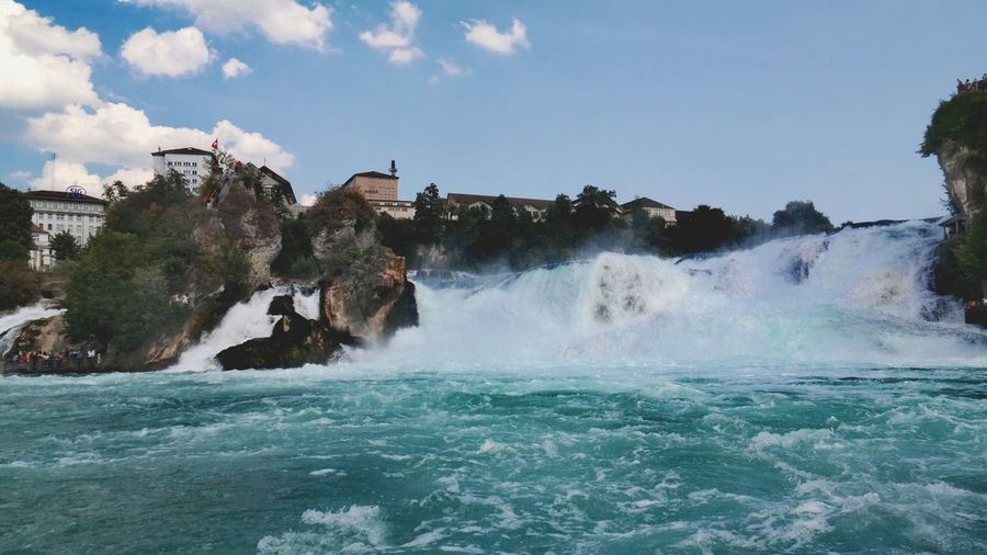 fifty shades of blue Rheinfall Schloss Laufen Nature Photography Beauty In Nature Blue My Point Of View Suisse  Water Power In Nature Motion Sky Waterfall Falling Water Flowing Water Splashing Stream - Flowing Water Rock Formation Natural Landmark