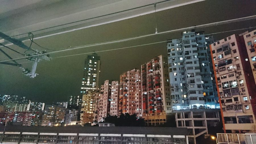 Hong Kong Building Exterior Built Structure City No People Architecture Low Angle View Outdoors Night Kwun Tong Sky Train Station