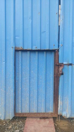 Closed Metallic Blue Gate