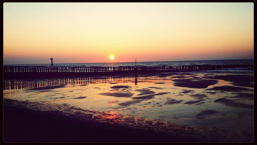 Sonnenuntergang Strand Meer Nordsee
