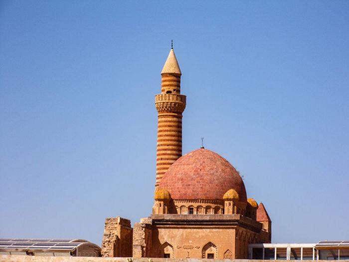 Ishak pasha palace against clear blue sky