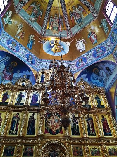 Full Frame Art And Craft Pattern Design Creativity Ornate Backgrounds Human Representation Window Low Angle View No People Multi Colored Indoors  Day Close-up Built Structure Architecture Orthodox Church Church Church Architecture Beauty Architecture Russia Saratov,Russia