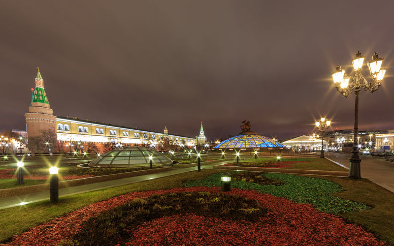 Night view over Manezhnaya Ploshchad in Moscow Building Exterior Travel Destinations Illuminated Night Architecture Tourism Travel Moscow Kremlin Manezhnaya Square Manezhnaya Ploshchad Park Nightphotography City Plant Outdoors