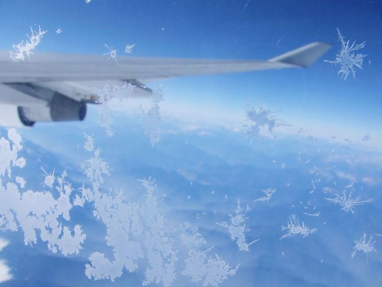 From An Airplane Window Icy Ice Plane Cold Freezing Cold Flying Sky