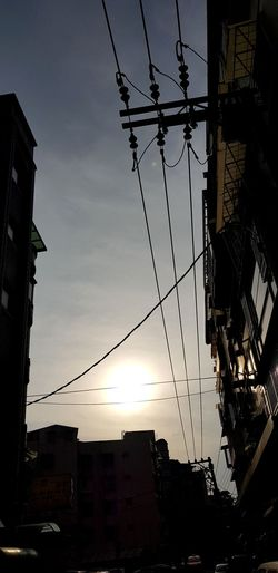 City Electricity  Cable Sunset Silhouette Sky