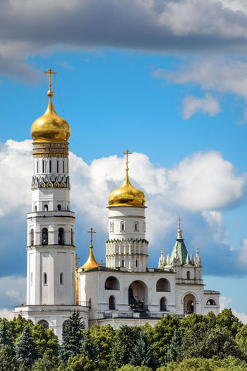 Ivan the Great Bell Tower inside the Moscow Kremlin Kremlin Moscow Orthodox Church Russia Architecture Belief Building Building Exterior Built Structure Cloud - Sky Famous Place History No People Place Of Worship Religion Sky Spirituality Tower Travel Travel Destinations