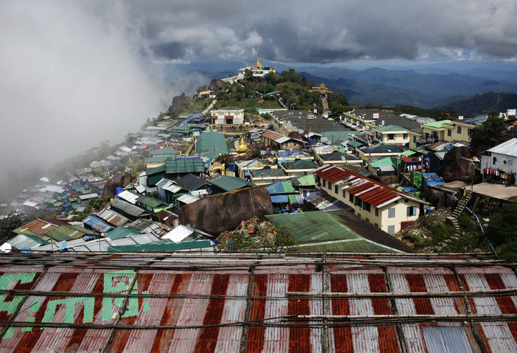 Kyaiktiyo Pagoda, myanmar Built Structure Architecture Building Exterior Building Cloud - Sky Mountain Residential District Sky Day House City Nature No People High Angle View Outdoors Roof Town Fog Cityscape TOWNSCAPE Air Pollution Pollution Kyaiktiyo Pagoda Myanmar
