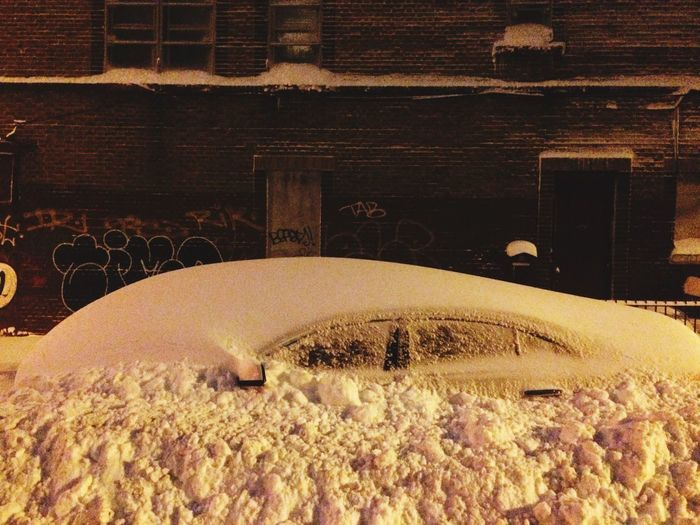 Snow Snowy Night Blizzard Blizzard 2016 Car Car Under The Snow Snow Covered Streetphotography Tones Of Snow Don't Shovel Not My Car  Snow In Brooklyn NYC White Winter