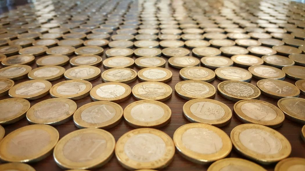 43 Golden Moments Euros Money Coins European  Monetary Union Money For Nothing Money Talk Pattern Pieces Everything In Its Place Rows Perspective Photography Depth Of Field Wide Angle Not All That Glitters Is Gold