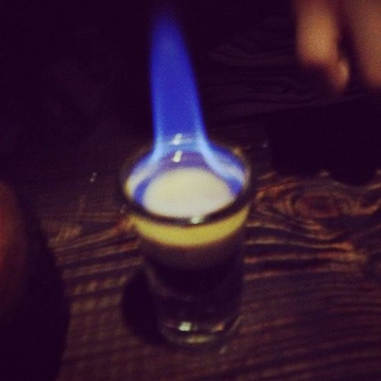 Flaming shot.
