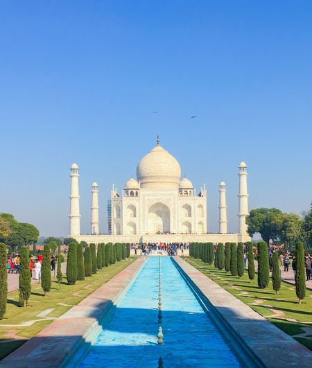 Shah Jahan's greatest expression of love for Mumtaz Mahal Mausoleum Mumtaz Mahal Shah Jahan Taj Mahal Agra India Water Reflecting Pool Clear Sky Arch Tourism Built Structure