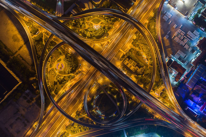 Urban overpass City Architecture Transportation Motion No People High Angle View Travel Aerial View China Shanghai Lighting Modern Traffic Curve LINE Overlook Night Nightscape Design Golden Circular Road Viaduct Flyover Business