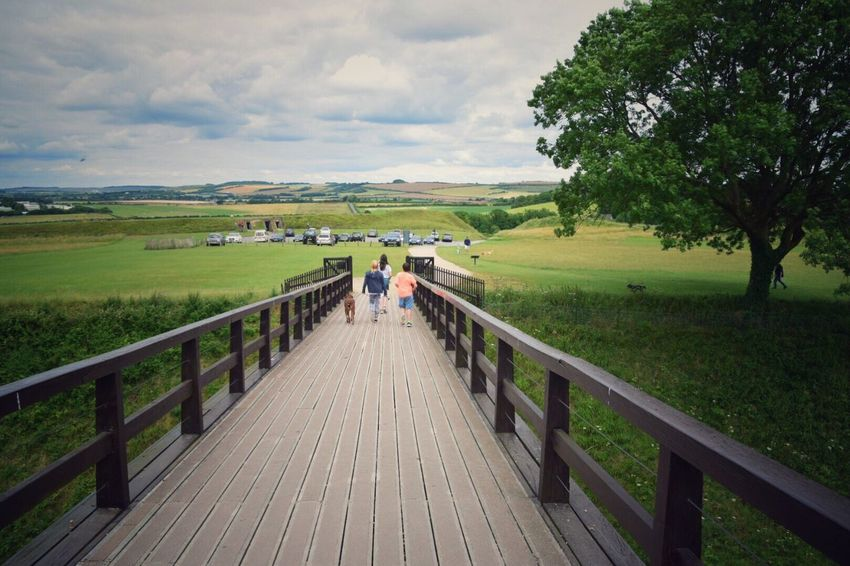 Nature Railing Landscape Beauty In Nature Real People Tranquil Scene Tree Tranquility Cloud - Sky Scenics Sky Outdoors Day Old Sarum Wiltshire UK Grass The Way Forward Men Full Length Footbridge Wood Paneling Lost In The Landscape