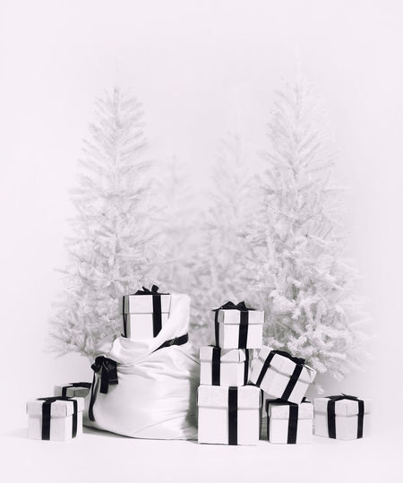 Christmas trees with bag and heap of gift boxes. Studio shot, black and white image Black And White Celebration Event Christmas Christmas Background Christmas Decoration Christmas Tree December Decor Decoration Gift Boxes Gifts Heap New Year No People Nobody Present Season  Studio Shoot Studio Shot Symbol Vertical White Background Winter Xmas Xmas Decorations