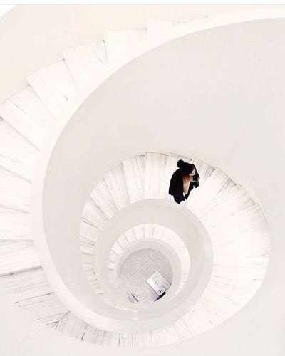 New York Staircase Steps And Staircases Spiral Steps One Person Full Length Adults Only High Angle View Architecture Spiral Staircase One Man Only Indoors  Built Structure Adult People Only Men Day