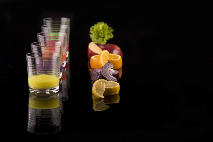 Healthy lifestyle Black Background Food Food And Drink Fruit Glass Healthy Eating Healthy Lifestyle Multi Colored Reflection Refreshment Studio Shot