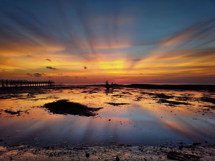 Sunset Sea Water Horizon Over Water Reflection Sky Scenics Beach Cloud - Sky Dusk Tranquility Nature No People Multi Colored Horizon Landscape Outdoors Low Tide Travel Destinations Amazing View Bns_sky Sea And Sky Seascape Segeri Sulawesi Selatan EyeEmNewHere Be. Ready.