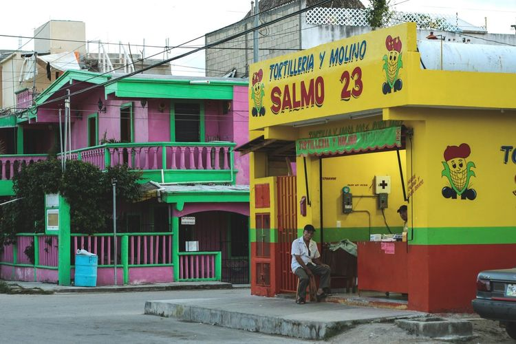 Multi Colored Architecture People Building Exterior Tortilleria Old Man Pink House Yellow House  Mexican Village