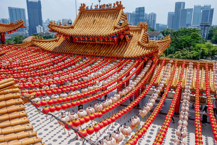 Chinese Lantern In A Row Kuala Lumpur Kuala Lumpur Malaysia  Lines Thean Hou Temple Architecture Art And Craft Building Building Exterior Built Structure Chinese Culture Chinese New Year City City Scape High Angle View Kuala Lumpur Skyline Large Group Of Objects No People Roof Sky Thean Hou Temple (天后宫) Thean Hou Temple In Kuala Lumpur Malaysia Travel Destinations Tree