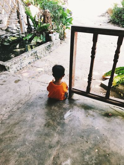 Real People One Person Child Males  Men Boys Childhood Day Plant Leisure Activity Sitting Lifestyles Nature Architecture Rear View Water Looking Casual Clothing Outdoors Innocence
