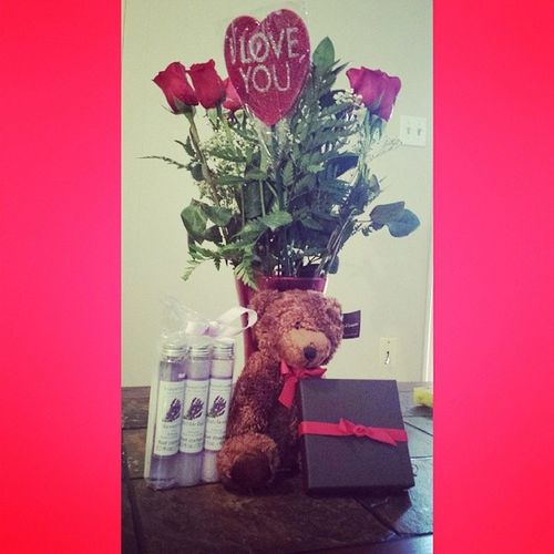 I love sweet surprises!! Happy Valentine's Day baby! I love you forever and always! Roses Bear Chocolates Bathstuff