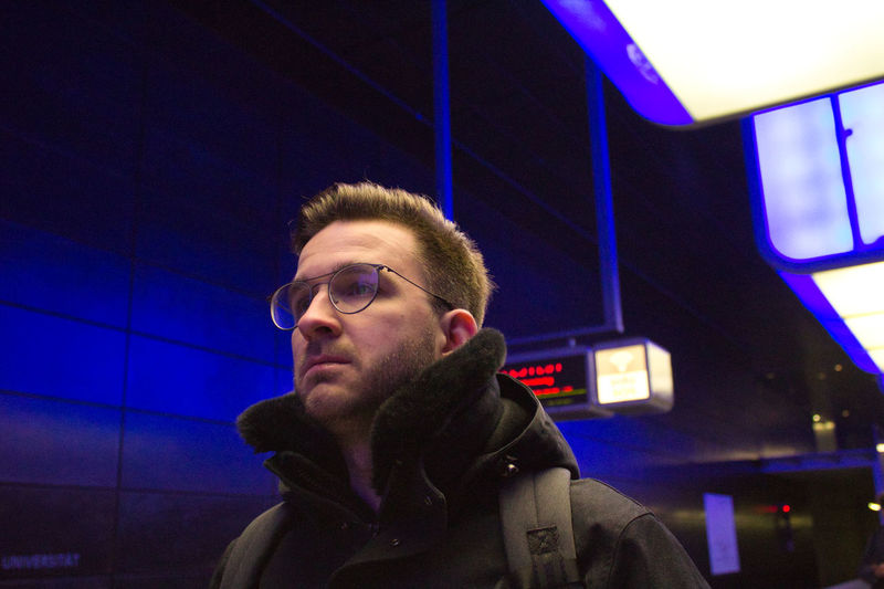 One Person Portrait Real People Young Adult Illuminated Headshot Young Men Leisure Activity Lifestyles Front View Glasses Beard Indoors  Casual Clothing Night Looking Away Clothing Focus On Foreground Contemplation Warm Clothing Underground Underground Station  Streetphotography