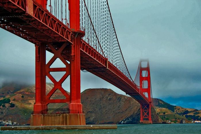 Golden Gate Bridge Bridge - Man Made Structure Suspension Bridge Connection Transportation Engineering Travel Destinations Architecture Built Structure Tourism Travel Outdoors Red Fog River Landscape City Sky Road Day Golden Gate Bridge SanFranciscoBay