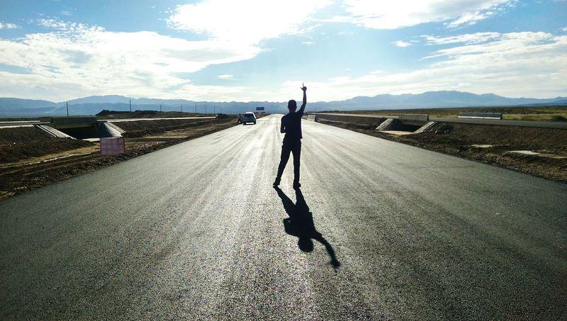 Tibet. Tibet Travel Sunlight Lonely Road Car Travel