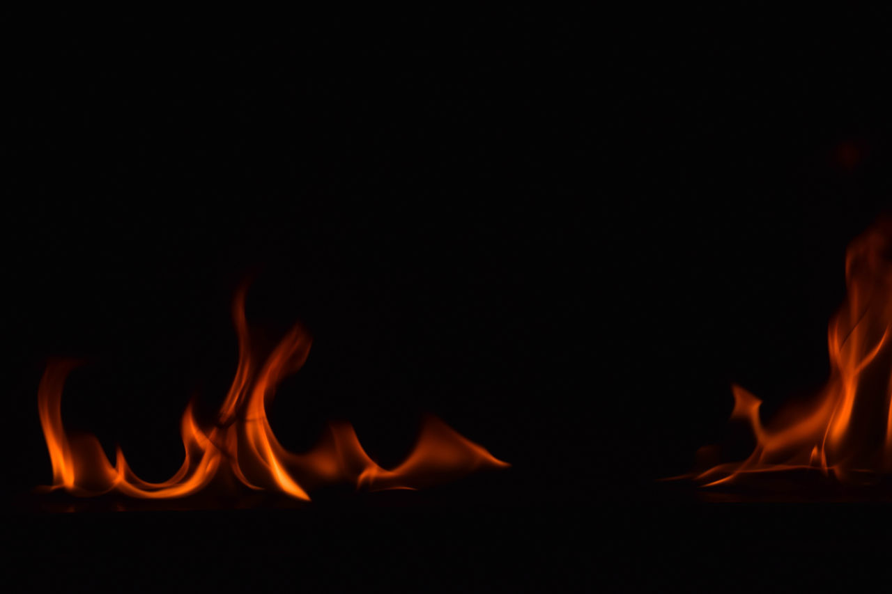 burning, flame, heat - temperature, glowing, orange color, night, copy space, motion, no people, bonfire, close-up, outdoors, nature