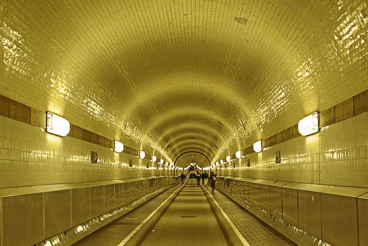 Interior of illuminated subway