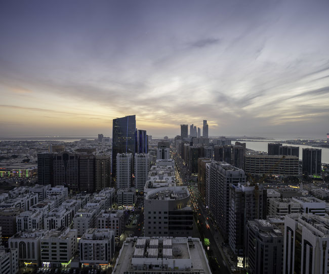 Winter sunset in abu dhabi city