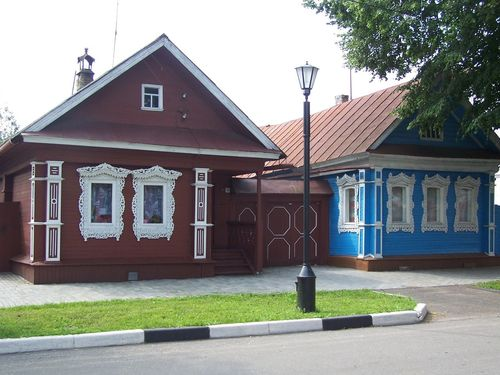 No People Village Countryside Wooden Houses Colorful Cottage Empty Street Novgorod Nizniy Novgorod Russia Timber Tree Blue Brown Light Cottages Day Tranquility Grass Lamp Old Buildings History Built Structure