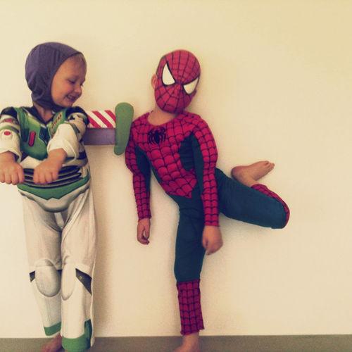 Two children dressed up as superheroes. Siblings Superhero Child Childhood Daughter Girl Indoors  Innocence Leisure Activity Two People