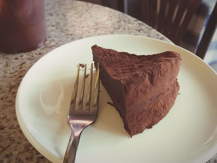 Close-Up Of Chocolate Cake And Fork On Plate At Home